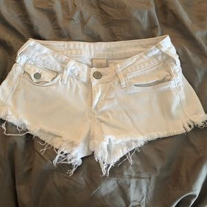 Women's True Religion white short shorts
